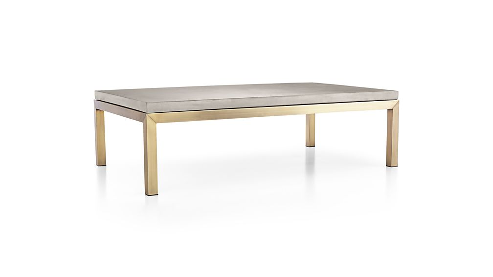 Parsons Concrete Top/ Brass Base 60x36 Large Rectangular Coffee Table
