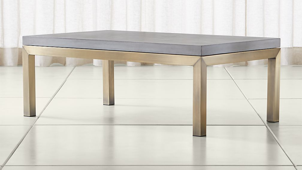 Parsons Concrete Top/ Brass Base 48x28 Small Rectangular Coffee Table