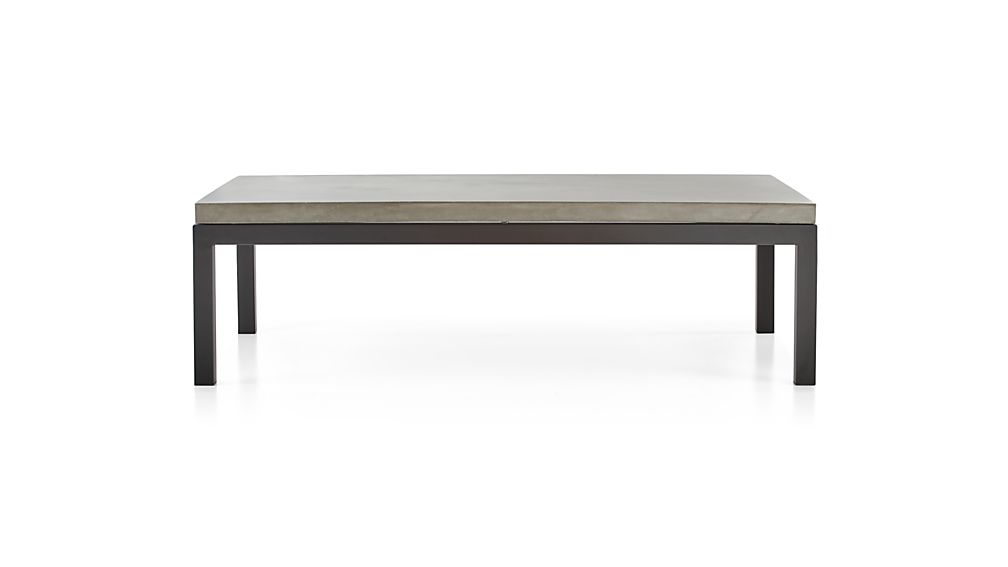 Parsons Concrete Top/ Dark Steel Base 60x36 Large Rectangular Coffee Table