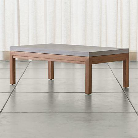 Parsons Concrete Top Elm Base 48x28 Small Rectangular Coffee Table