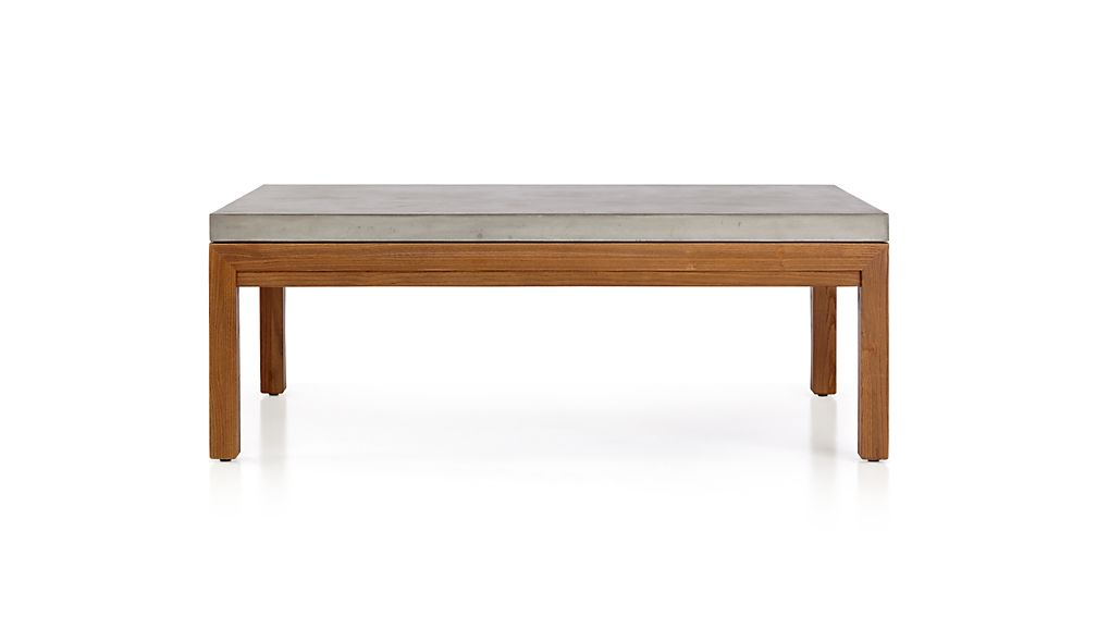 Parsons Concrete Top/ Elm Base 48x28 Small Rectangular Coffee Table