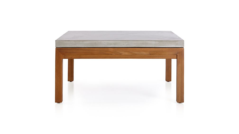 Parsons Concrete Top Elm Base 36x36 Square Coffee Table Crate And Barrel