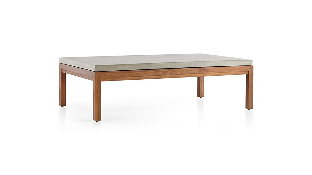 Parsons Concrete Top/ Elm Base 60x36 Large Rectangular Coffee Table