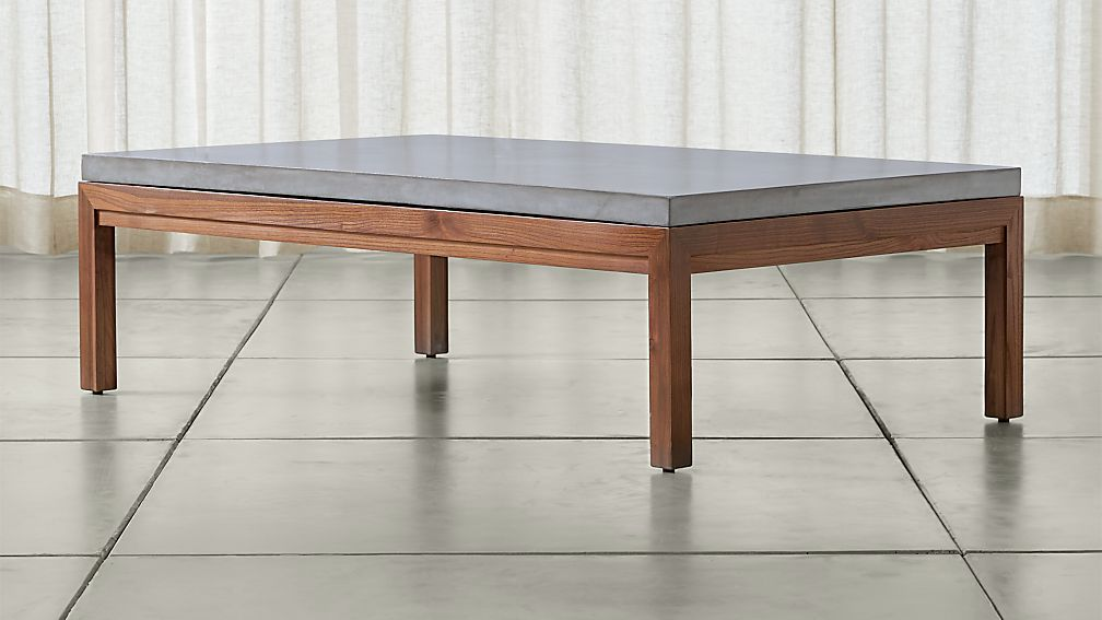Parsons Concrete Top/ Elm Base 60x36 Large Rectangular Coffee Table - Image 1 of 4