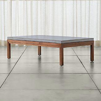 Parsons Concrete Top/ Elm Base 60x36 Large Rectangular Coffee Table