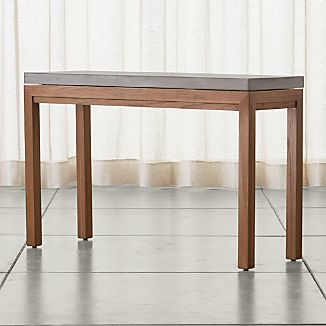 Parsons Elm Console Table with Concrete Top