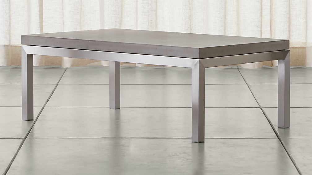 Parsons Concrete Top Stainless Steel Base X Small Rectangular - Rectangular concrete coffee table