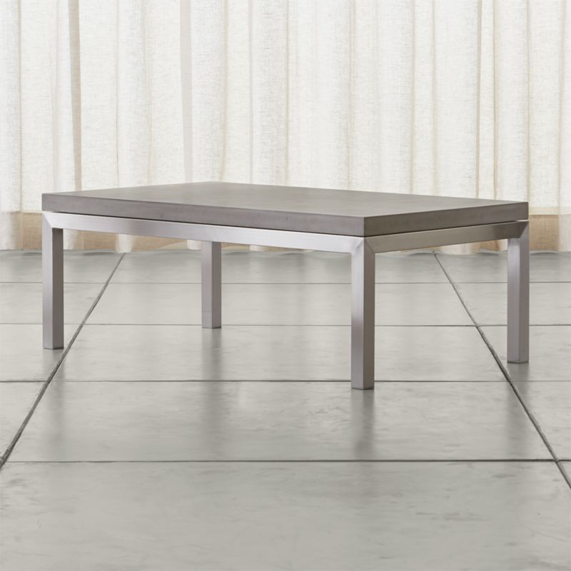 parsons concrete top stainless steel base 48x28 small rectangular coffee table