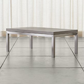 Parsons Small Rectangular Stainless Steel Coffee Table with Concrete Top
