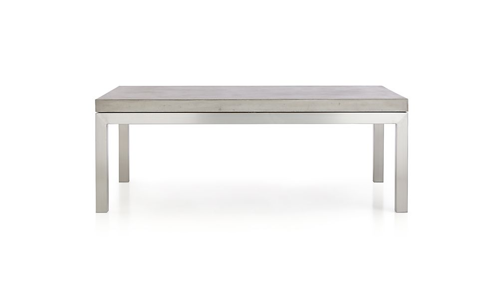 Parsons Concrete Top/ Stainless Steel Base 48x28 Small Rectangular Coffee Table