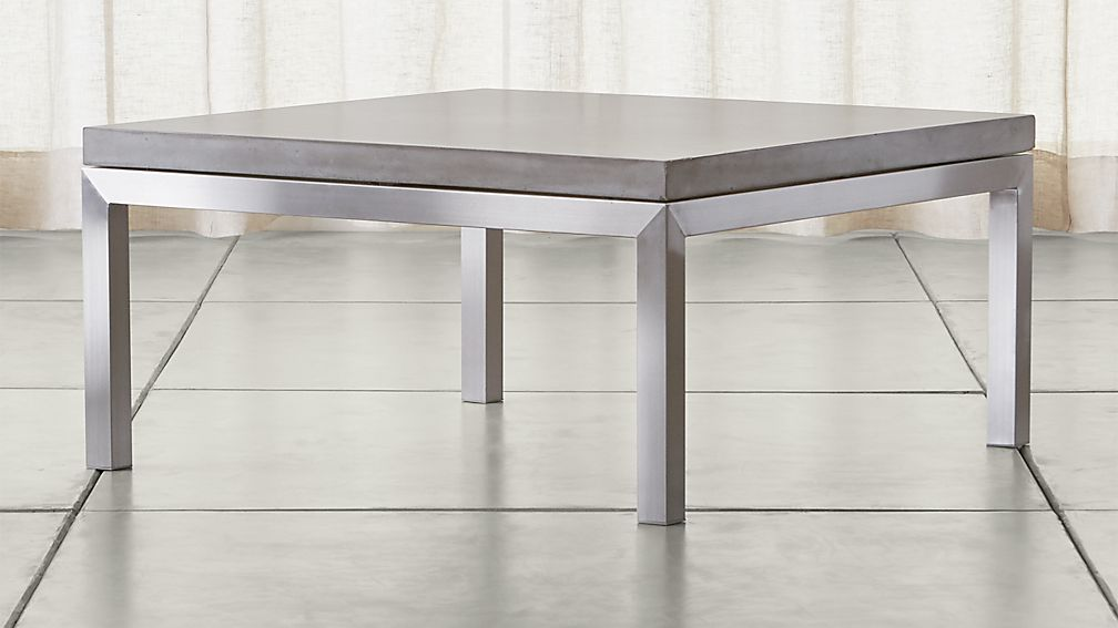 parsons concrete top/ stainless steel base 36x36 square coffee