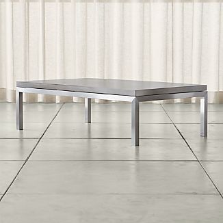 Parsons Concrete Top/ Stainless Steel Base 60x36 Large Rectangular Coffee Table