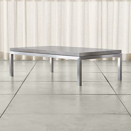 Astounding Parsons Concrete Top Stainless Steel Base 60X36 Large Rectangular Coffee Table Gmtry Best Dining Table And Chair Ideas Images Gmtryco
