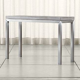 Parsons Stainless Steel Console Table with Concrete Top
