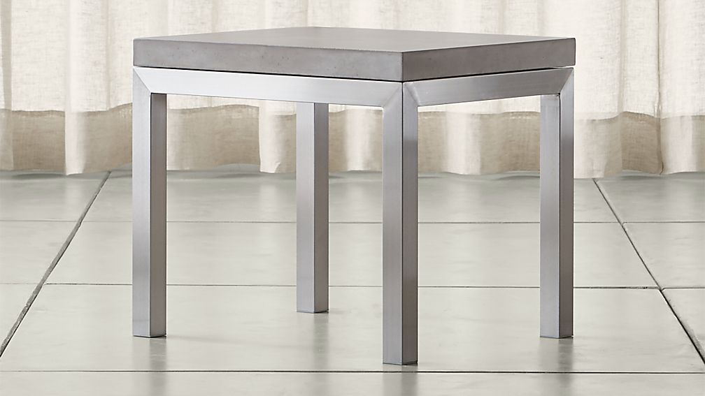 Parsons Concrete Top/ Stainless Steel Base 20x24 End Table - Image 1 of 4