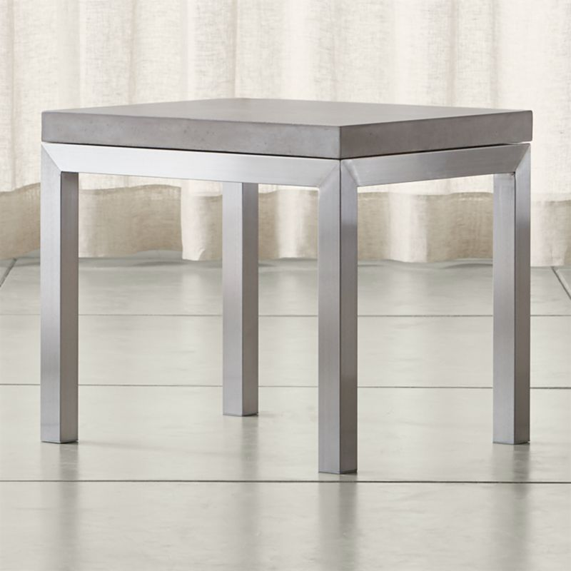 Parsons Concrete Top Stainless Steel Base 20x24 End Table