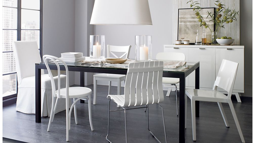 Vienna white wood dining chair crate and barrel - Crate and barrel parsons chair ...