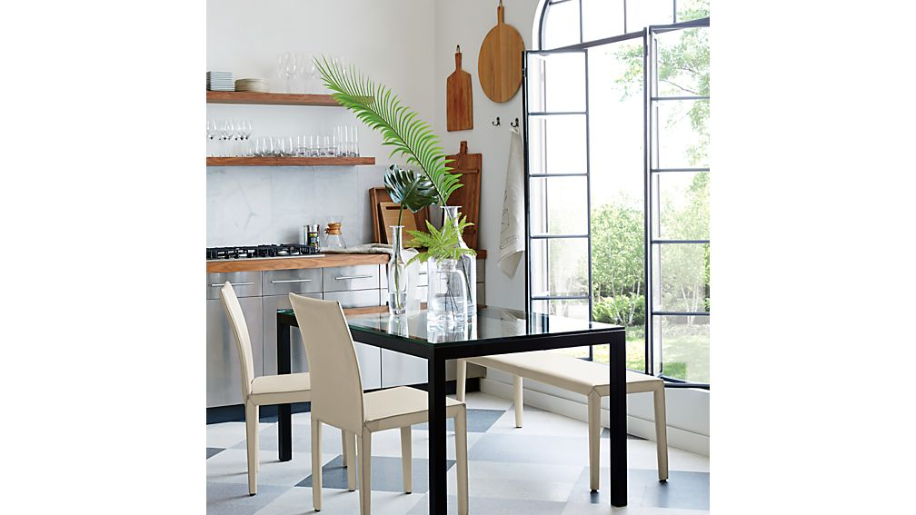 Parsons Clear Glass Top/ Dark Steel Base Dining Tables | Crate And Barrel