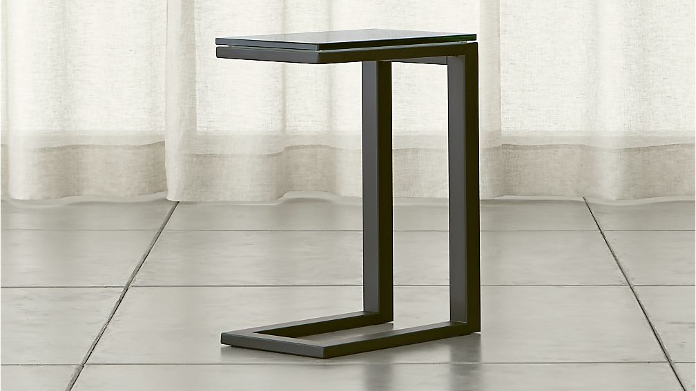 Parsons Clear Glass Top Dark Steel Base 20x12 C Table
