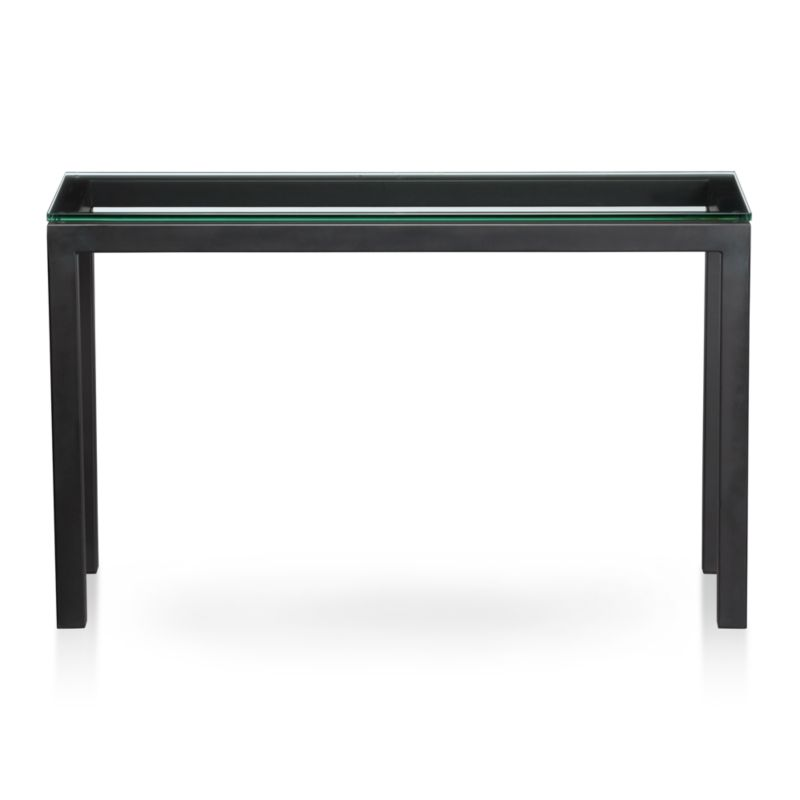 Parsons Console Table with Glass Top Reviews Crate and Barrel