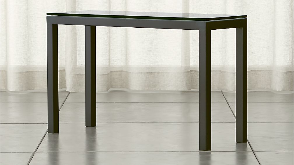 Parsons Clear Glass Top Dark Steel Base 48x16 Console