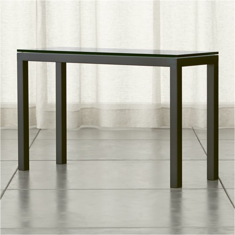 Exceptionnel Parsons Clear Glass Top/ Dark Steel Base 48x16 Console