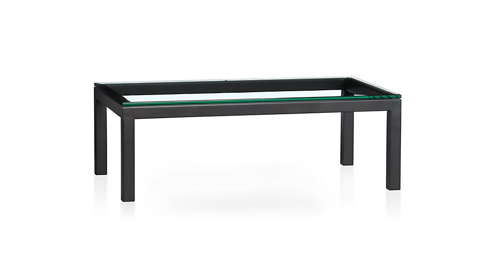 ... Parsons Clear Glass Top/ Dark Steel Base 48x28 Small Rectangular Coffee  Table ...