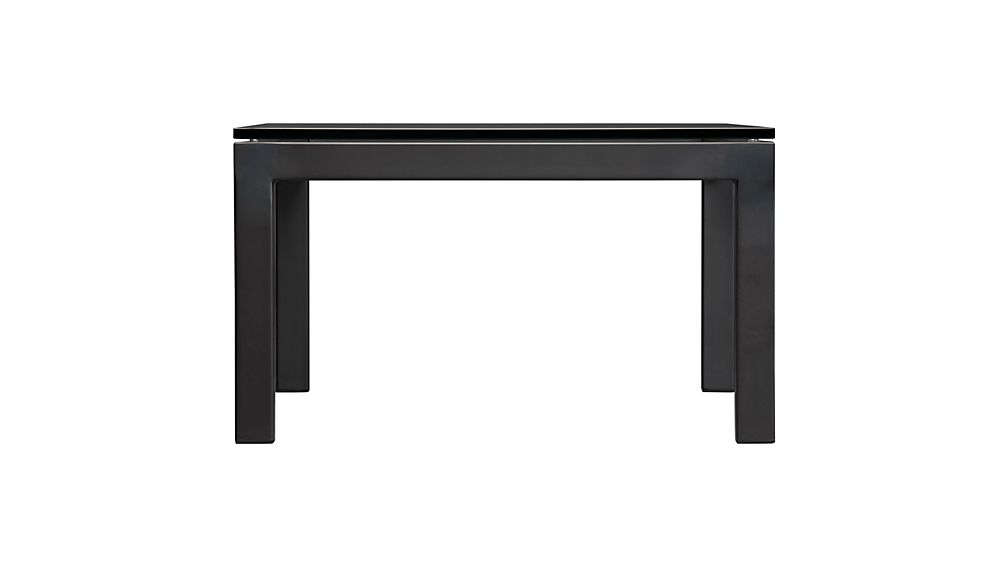 Parsons Small Rectangular Dark Steel Coffee Table with Glass Top