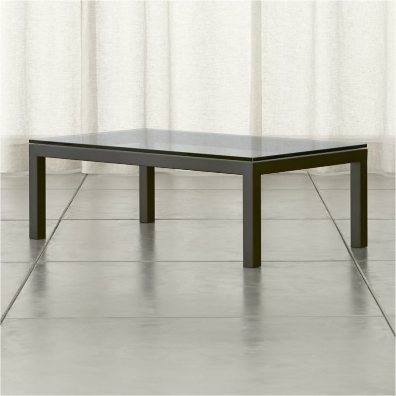 Parsons Clear Glass Top Dark Steel Base 48x28 Small Rectangular