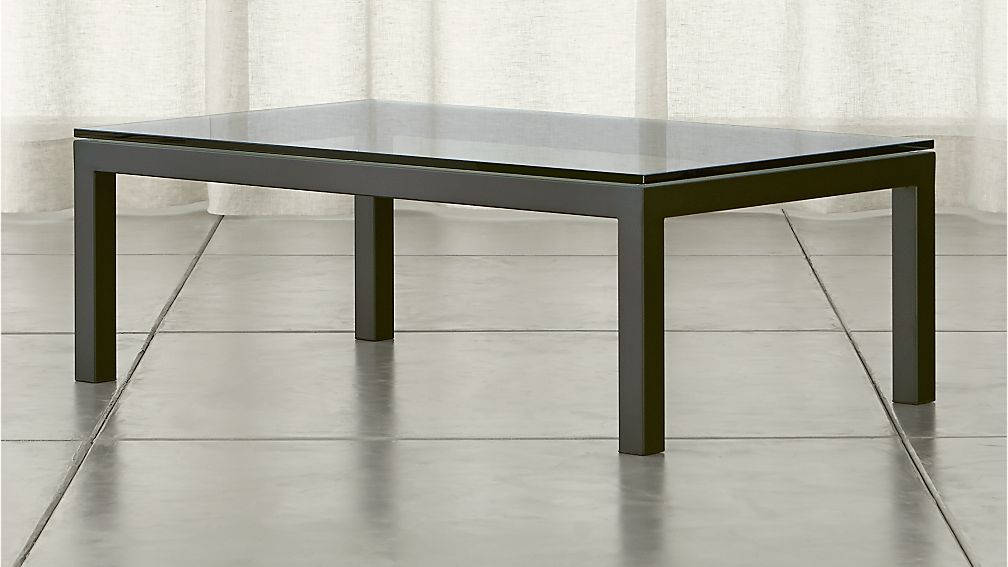 glass top coffee table Parsons Clear Glass Top/ Dark Steel Base 48x28 Small Rectangular  glass top coffee table