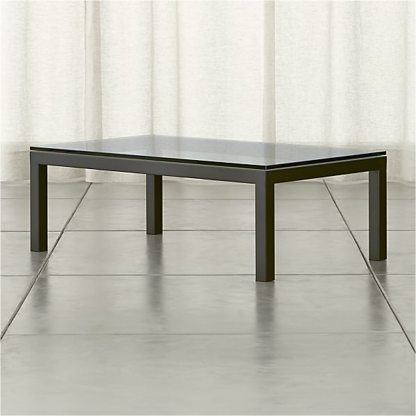 Parsons Rectangular Coffee Table with Clear Glass Top