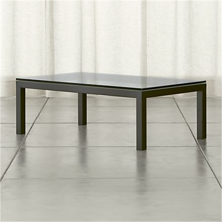 Parsons Clear Gl Top Dark Steel Base 48x28 Small Rectangular Coffee Table