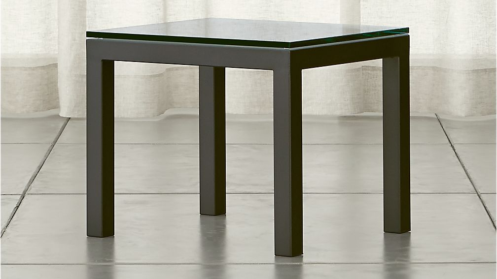 Parsons Clear Glass Top/ Dark Steel Base 20x24 End Table - Image 1 of 10