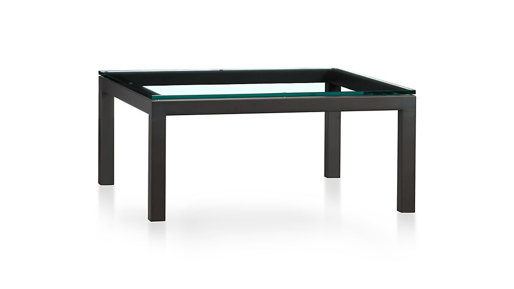 Parsons Clear Glass Top Dark Steel Base 36x36 Square Coffee Table