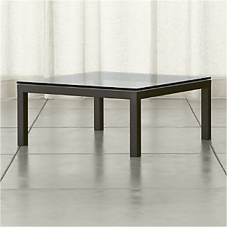 Parsons Clear Glass Top/ Dark Steel Base 36x36 Square Coffee Table
