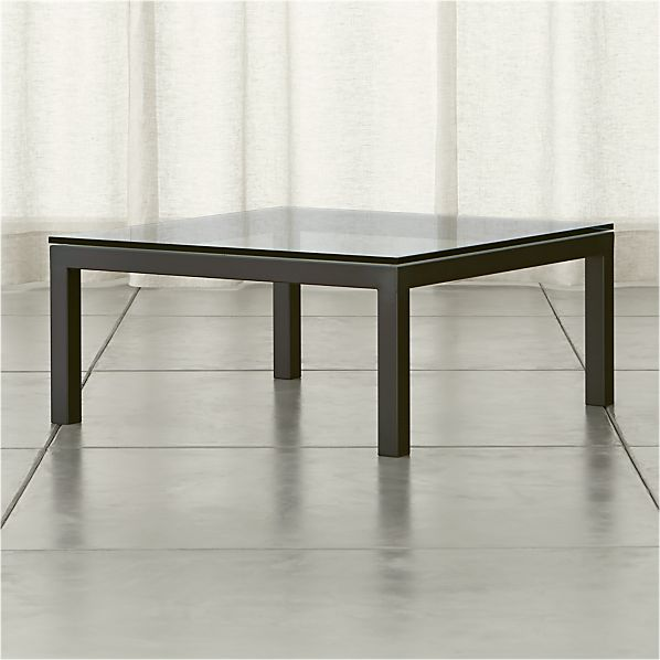 Parsons Square Dark Steel Coffee Table with Clear Glass Top