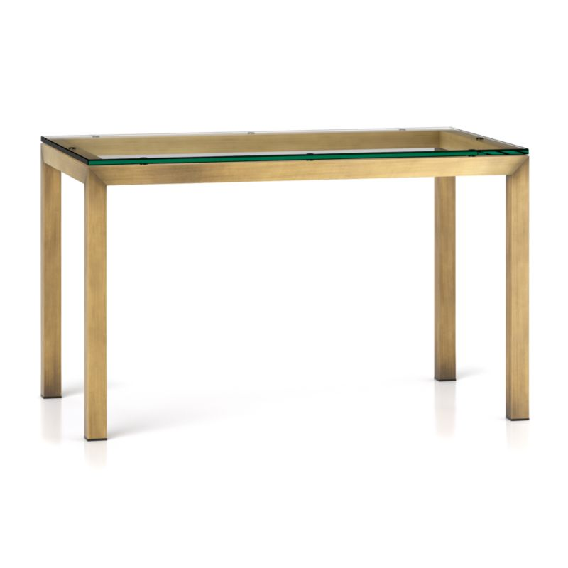 Parsons clear glass top brass base 48x28 dining table for Glass top dining table next