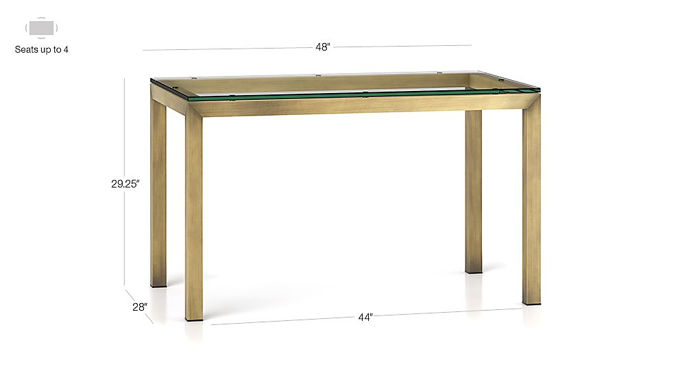 Tap To Zoom Image With Dimension For Parsons Clear Glass Top Brass Base 48x28 Dining Table