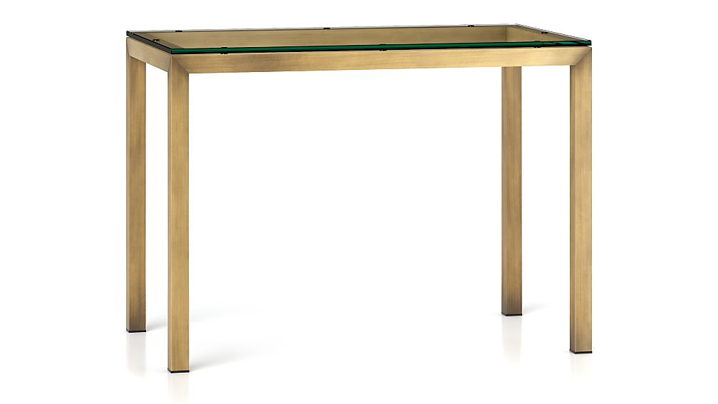 Parsons Clear Glass Top Brass Base 48x28 High Dining Table