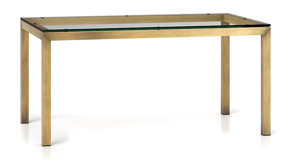 Parsons Clear Glass Top Brass Base 60x36 Dining Table Reviews