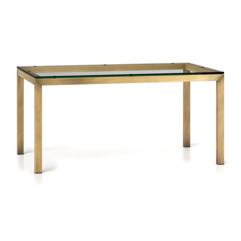 Parsons clear glass top brass base 60x36 dining table in for Glass top dining table next