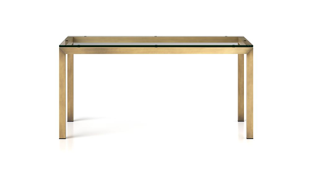 Parsons clear glass top brass base 60x36 dining table for Glass top dining table 36 x 60