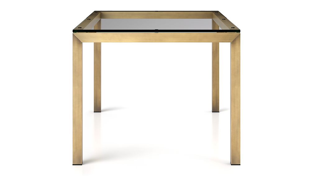 Parsons Clear Glass Top/ Brass Base 72x42 Dining Table