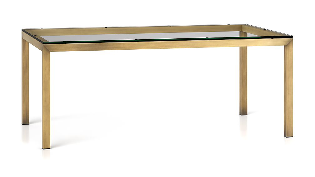Parsons Clear Glass Top Brass Base 72x42 Dining Table