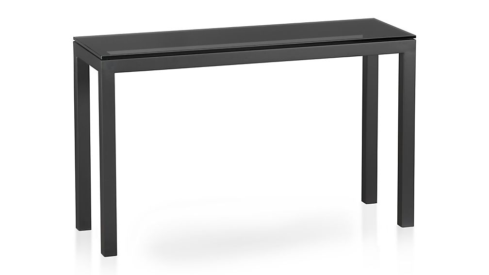 Parsons Grey Glass Top/ Dark Steel Base 48x16 Console