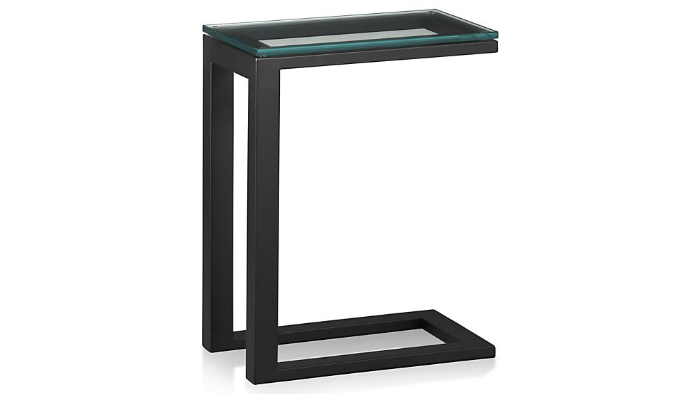 Parsons Clear Glass Top/ Dark Steel Base 20x12 C Table