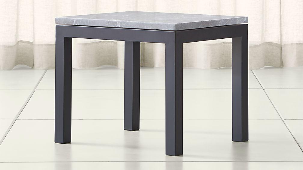 Parsons Grey Marble Top/ Dark Steel Base 20x24 End Table - Image 1 of 4