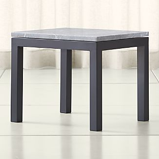 Parsons Grey Marble Top/ Dark Steel Base 20x24 End Table