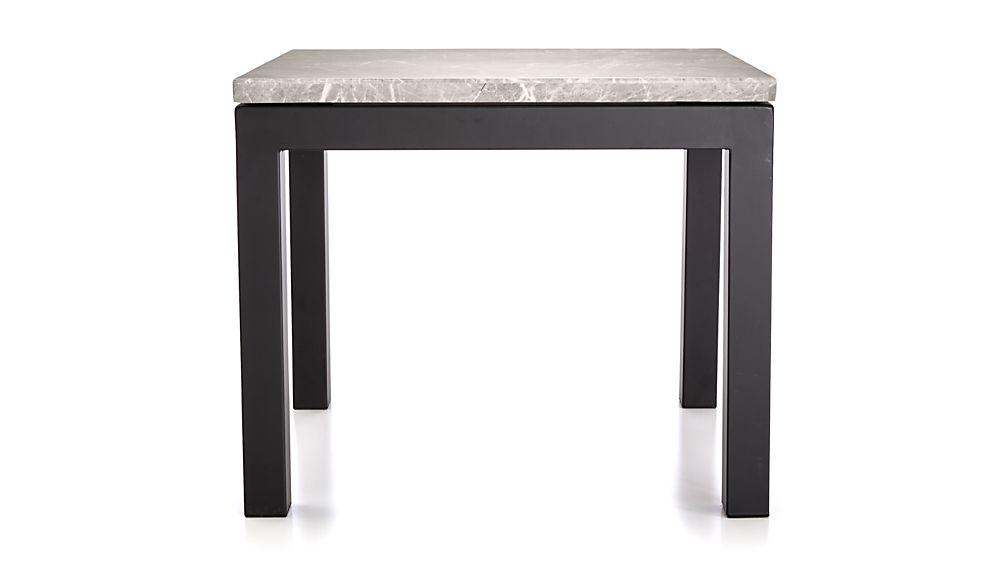 Parsons Grey Marble Top/ Dark Steel Base 20x24 End Table
