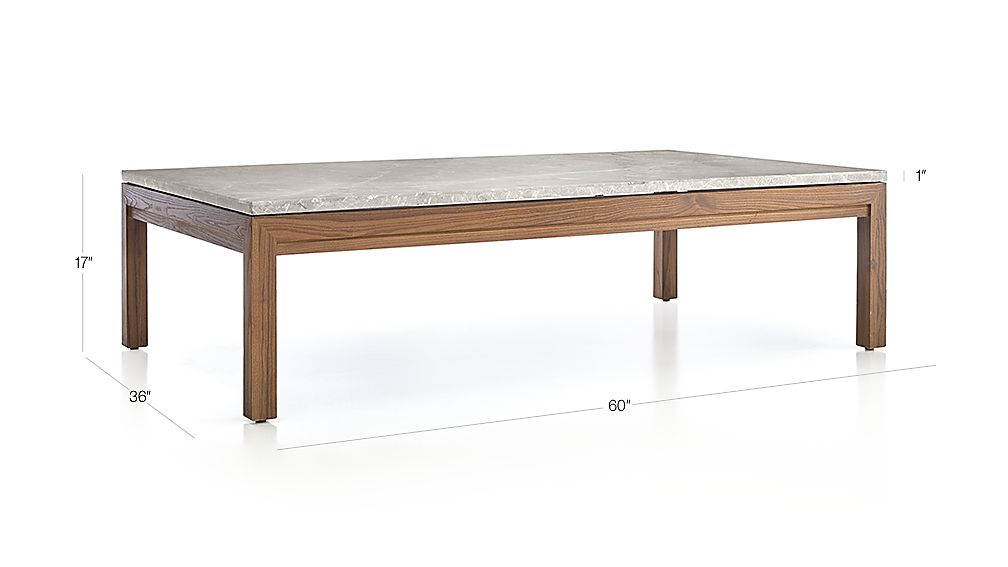 Parsons grey marble top elm base 60x36 large rectangular for Glass top dining table 36 x 60